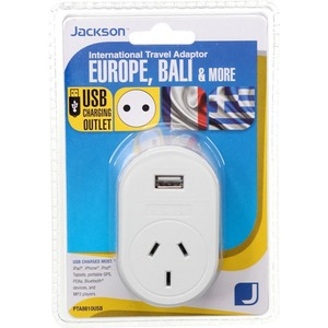 JACKSON TRAVEL ADAPTOR OUTBOUND NZ TO EUROPE BALI 1X USB