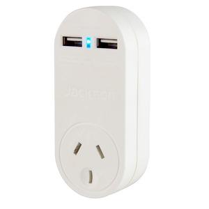 Jackson USB Charger Plugin 2x USB O/Let 1Way Power Protected