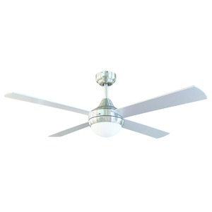 Tempo-II Ceiling Fan 48in & Light Brush Chrome Silver Blade