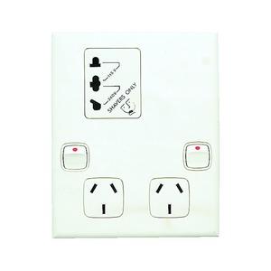 XL Shaver Outlet & Sw Socket Dbl White